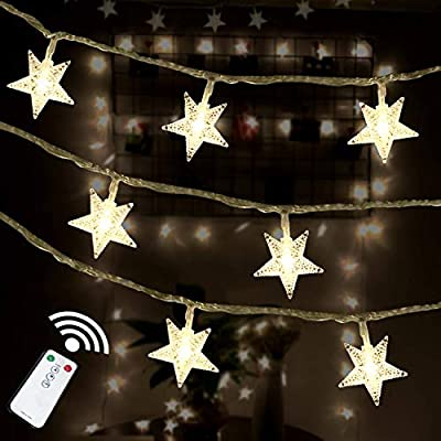HOTINS Star String Lights 100 LED Remote Control Plug in LED Fairy String Lights for Wedding Party Patio Christmas Tree Holiday Indoor Outdoor Bedroom Decoration Warm White : Garden & Outdoor