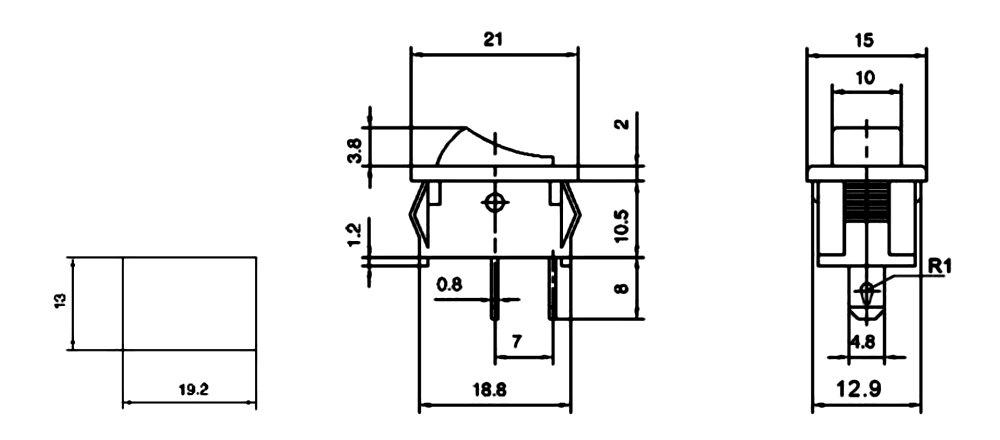 Rojo C10746 Interruptor conmutador basculantes de boton SPST ON-OFF 3A//250V 2 posiciones AERZETIX
