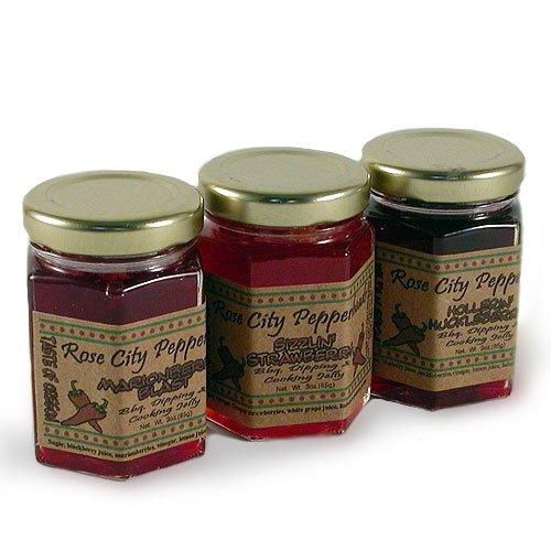 (Rose City Pepperheads Spicy Pepper Berry Glaze Trio 3oz.)