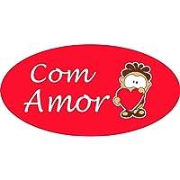 Etiqueta Para Presente com Amor Retangular Vermelho , Cartela com 100 Grespan, Multicor