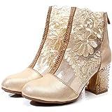 ブーツ ショートブーツ レディース ヒール 刺繍 ブーティ ブラック 太ヒール 6cm 小さいサイズ 秋 美脚 黒 白 ピンク ゴールド ハイヒール おしゃれ 牛革 ファスナー 21.5cm シューズ 靴 バッグジップ 25.5cm 25cm