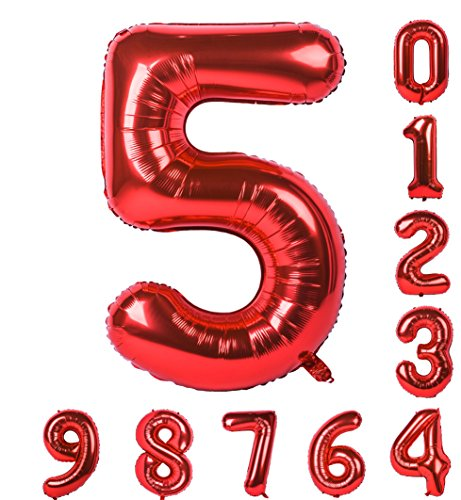Balloon 0-9(Zero-Nine) 40 inch Red Numbers Birthday Party Mylar Decorations of Arabic Numerals 5