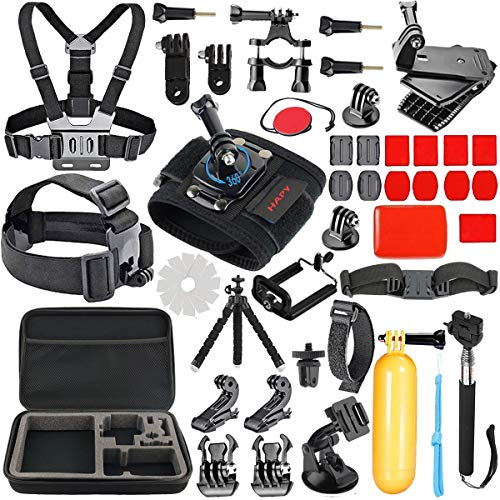 HAPY Gopro Accessories kit for GoPro Hero 6,5 Black, Hero Session,GoPro Fusion,Hero (2018),Hero 6,5,4,3, Head Strap Camera Mount,Chest Mount Harness,Carrying Case,Action Camera Accessories by HAPY