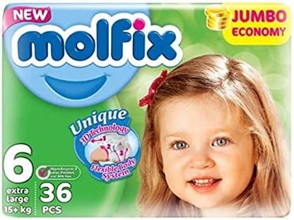 Molfix Extralarge//Jumbo Economie Pack de 36 Couches 15 kg Taille 6