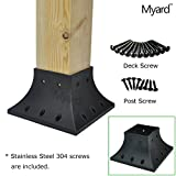 Myard 4x4 Inches Post Base Cover Skirt Flange w/ Screws for Deck Porch Handrail Railing Support Trim (Qty 1, Black)
