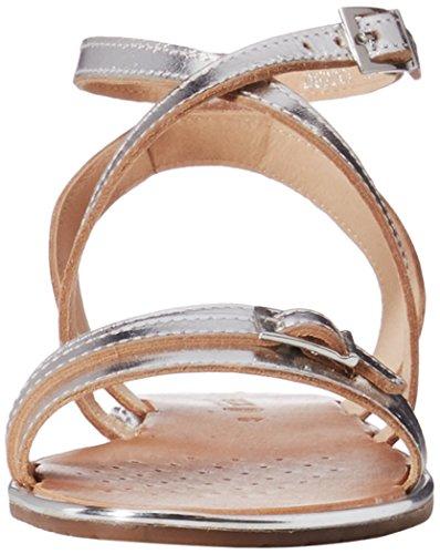 Metal N D622cj lea Silver Sandalo 37 Sozy 000cf Donna Geox qvS7x