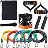AMANDAMI Resistance Bands Set, Workout Bands Include 5 Exercise Bands, Door Anchor, Foam Handles, Ankle Straps and Carrying Bag for Resistance Training, Physical Therapy, Home Workouts, Yoga