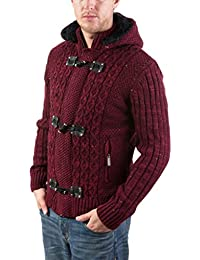 Mens Slim Fit Full Zip & Toggle Sherpa Lined Luxury Hooded Sweater - Colors