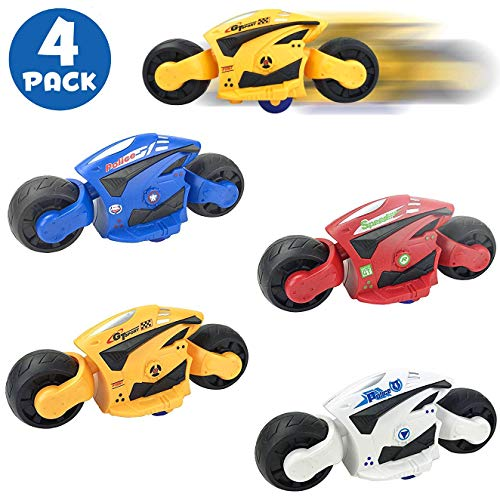4 Pack - High Speed Friction Futuristic Concept Motorcycle Toys for Kids - Racing Motorbike Vehicles Party Favors