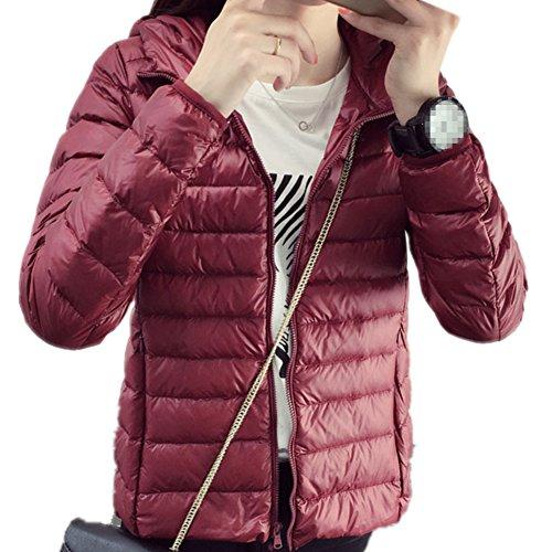 Down Short Weight Wine Women's Jacket XICHENGSHIDAI Light Red Hooded ZFqSBw