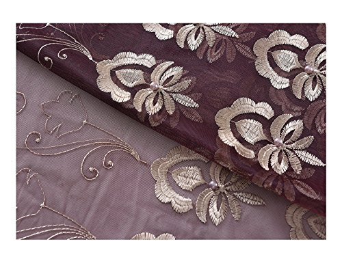 - Aside Bside Rod Pocket Top Sheer Curtains With Beads Floral Array Embroidered Transparent Voile Drapes For Windows (1 Panel, W 52 x L 63 inch, Purple 12) -128158052638512C1PGA