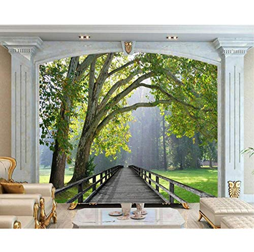- Mural 3D Wallpaper Living Room Bedroom Mural Wooden Bridge Birch Landscape TV Background Wallpaper Mural Papel de Parede 350x250cm