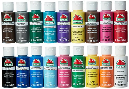 Art Apple - Apple Barrel Acrylic Paint Set, 18 Piece (2-Ounce), PROMOABI Best Selling Colors I