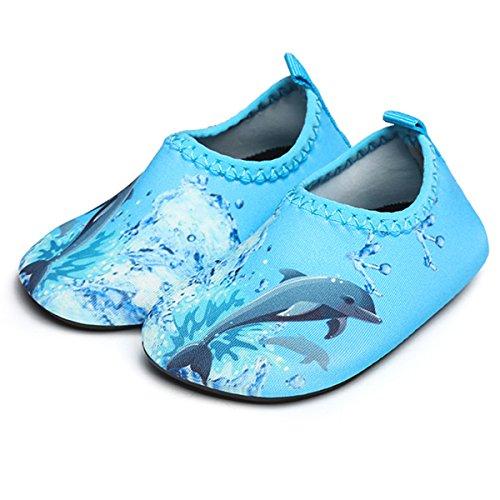 JIASUQI Baby Quick Dry Aqua Water Shoes Socks for Swimming Pool,Blue Dophin 0-6 Months