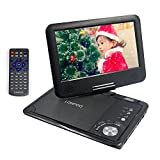 LONPOO 9-Inch Portable DVD Player Video Game Player with Swivel Screen Rechargeable Battery, SD Card Slot and USB Port for Car Trip Use (Black)