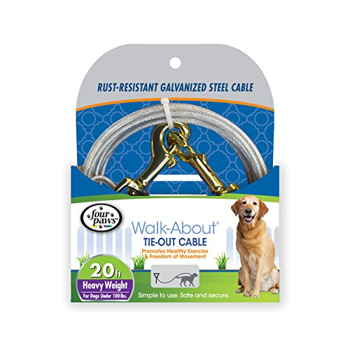 (Four Paws Heavy Duty Dog Cable, 20-Foot Large Dog Tie Out Cable, Silver)