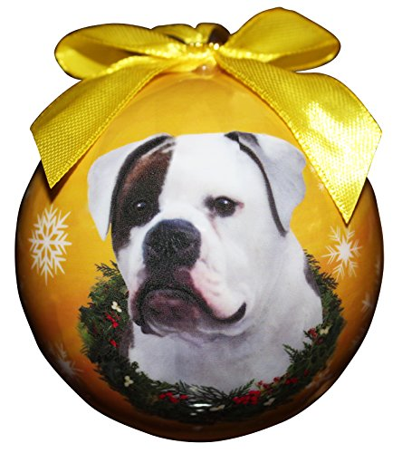 """""""American Bulldog Christmas Ornament"""" Shatter Proof Ball Easy To Personalize A Perfect Gift For American Bulldog Lovers"""