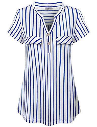 Cestyle Blue and White Striped Shirt Women,Womens V Neck Chiffon Blouse Short Sleeve Fit and Flare Hem Business Casual Clothes Weekend Outfits -