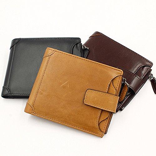 Color : Color Coffee Fishagelo Men Genuine Leather Minimal Wallet 6 Card Slots Vintage Coin Bag Card Holder