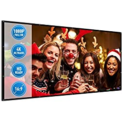 Projector Screen for Indoor and Outdoor Movie, 120 Inches 16:9 HD Portable Thicker Fabric Foldable Projection for Home, Traveling, Office | Support Rear and Front Projection