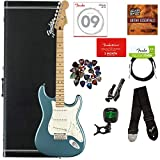 Fender Player Stratocaster, Maple - Tidepool Bundle with Hard Case, Cable, Tuner, Strap, Strings, Picks, Capo, Fender Play Online Lessons, and Austin Bazaar Instructional DVD