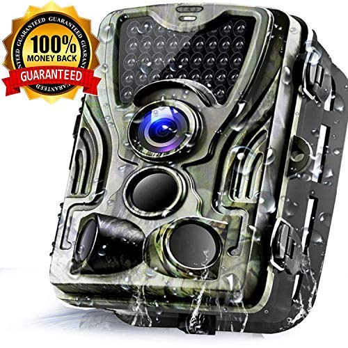 Trail Game Camera 16MP 1080P Waterproof Hunting Scouting Cam for Wildlife Monitoring with 120°Detecting Range Motion Activated Night Vision 2.4″ LCD IR LEDs (Green)