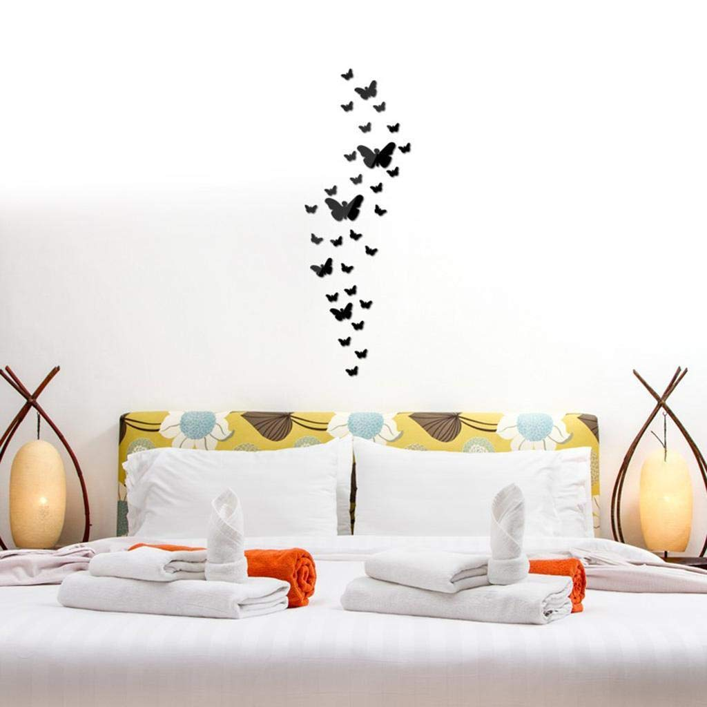 Agordo 30Pc 3D Mirror Wall Decal Mural Decor Removable Sticker Black Butterfly C