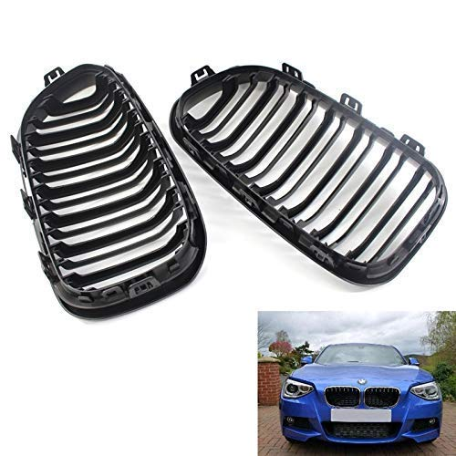 Pair i-Shop 2015-2016 F20 F21 1 Series Glossy Black Front Hood Kidney Grille Grill