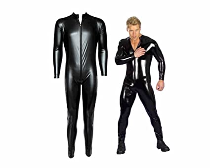 Male Leather Bodysuit Men Sexy Body Dress Uniform Zipper PVC Outfit Faux  Leather Rubber Costume (
