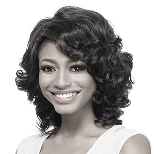 Search : YX Short Curly Hair Wig for Black Women African american Heat Resistant Synthetic Hair Wigs(Black)