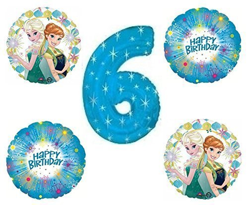 Amazon Frozen Fever Blue Sparkle Happy 6th Birthday Balloon Decoration By Party Supplies Toys Games