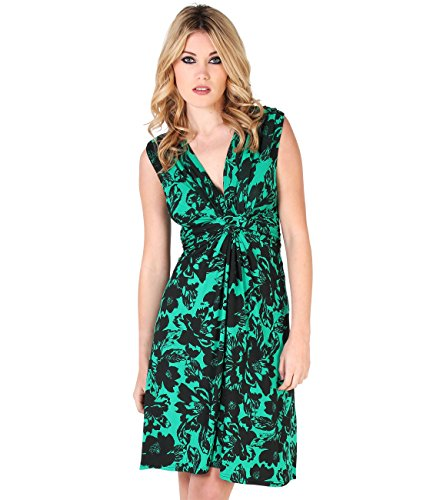 (KRISP 6309-JAD-18 Women's Knot Dress, US 14, Jade)