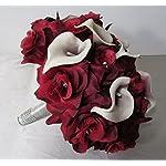 Burgundy-Rhinestone-Rose-Calla-Lily-Bridal-Wedding-Bouquet-Boutonniere