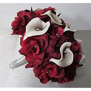 Burgundy Rhinestone Rose Calla Lily Bridal Wedding Bouquet & Boutonniere 2