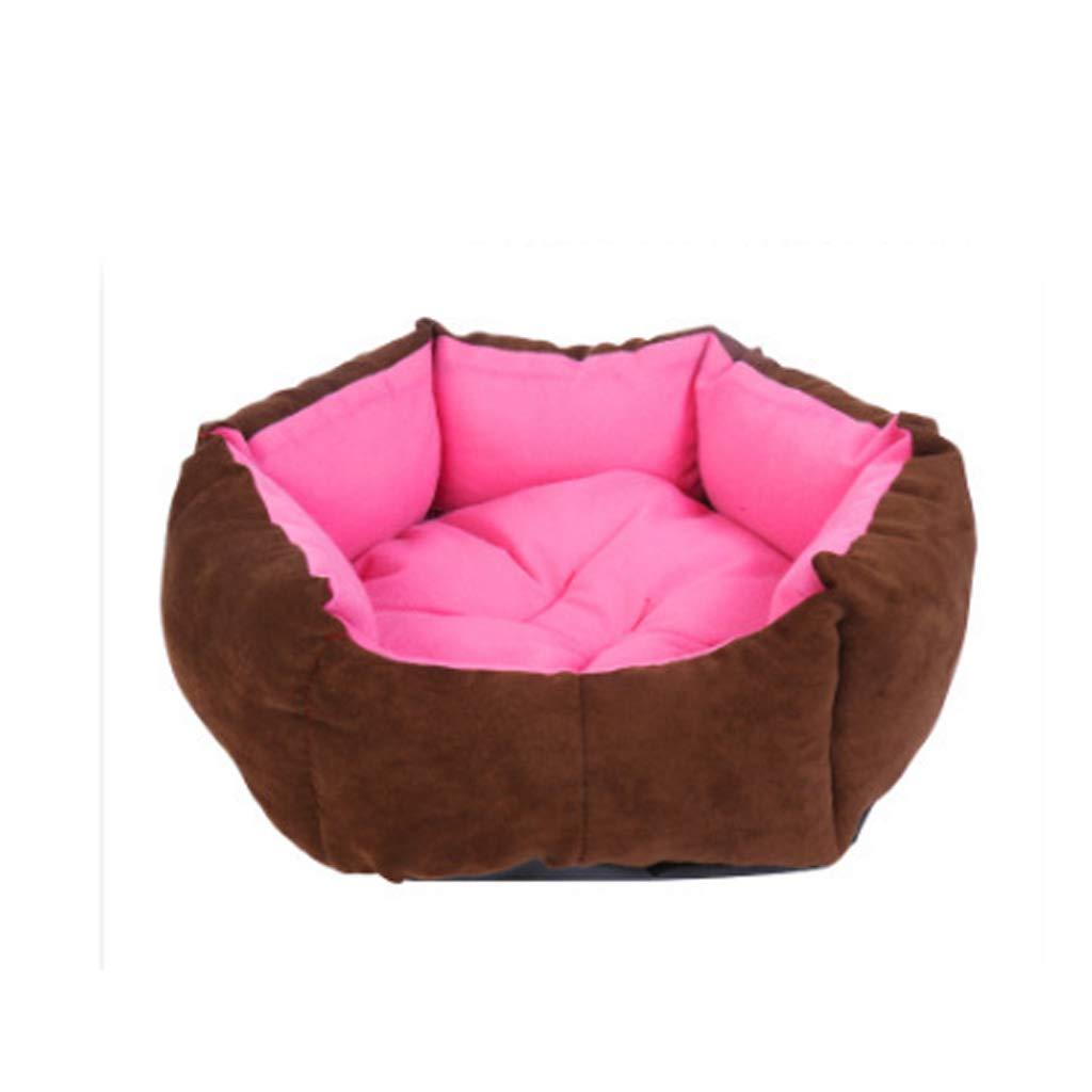 M(15 kg inside pet) Soft Pink Hexagon Pet Nest Four Seasons Universal Washable Small And Medium Wool Cat Kennel Villa Warm Mat HAODAMAI (Size   M(15 kg inside pet))