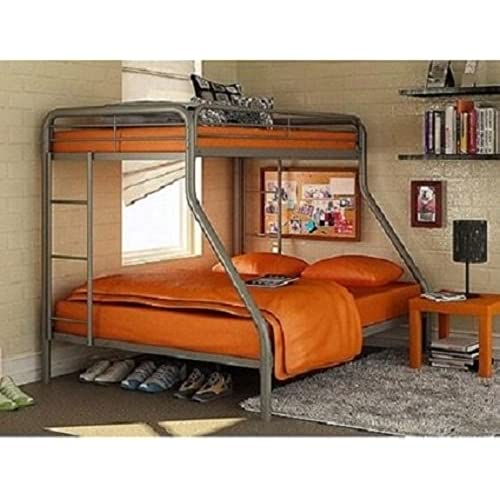 Sturdy Kids Twin Over Full Metal Bunk Bed With Stairs This Durable Steel Frame For Includes Length Guardrails And The