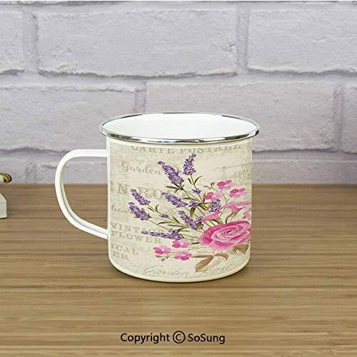 Lavender Travel Enamel Mug,Postal Stamps and Postmarks Grungy Backdrop Romantic Bridal Corsage,11 oz Practical Cup for Kitchen, Campfire, Home, TravelLight Pink Lavender Tan