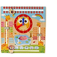 Emob Early Learning Cartoon Owl Clock Season Weather Multi - Functional Wooden Educational Board Toys (Multicolor)