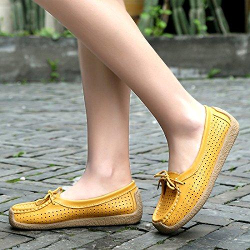 Plates Z En Loafers Conduite Confort Cuir De Mocassins Femmes Jaune suo Chaussures Casuel 8wqrt8f