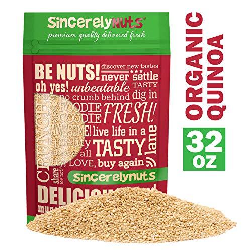 Sincerely Nuts Organic White Quinoa (2 lb Bag) - Prewashed Peruvian Quinoa | Pseudo Grain Packed with Amino Acids, Vitamins, Minerals, Protein & Fiber | Gluten Free Super Food | Kosher, Non GMO