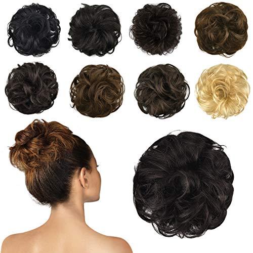 FESHFEN 100% Human Hair Scrunchies (2# Dark Brown) Curly Messy Hair Bun Extensions Wedding Hair Pieces for Women Kids Hair Updo Donut Chignons (Buns Extensions Human Hair)
