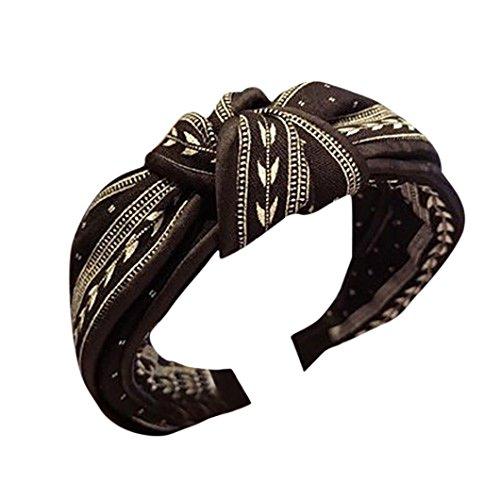 Women Headwear,Caopixx Lady Yoga Elastic Cute Hairband Turban Knotted Retro Hair Band Bandanas Headband (Black)