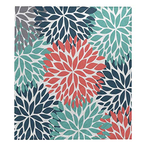 InterestPrint Dahlia Pinnata Flower Teal Coral Gray Cotton Quilt Baby Blanke Quilt Twin XL Size 70x80 ()