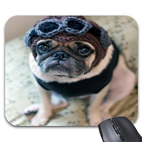 Mousepad Pug Pilot Rectangular Natural Rubber Non-Slip Mouse (Homemade Dog Halloween Costume Ideas)