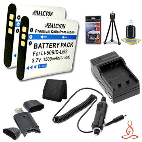 Two Halcyon 1500 mAH Lithium Ion Replacement D-LI92 Batteries and Charger Kit + Memory Card Wallet + Multi Card USB Reader + Deluxe Starter Kit for Pentax WG-20 Waterproof Digital Camera and Pentax D-LI92