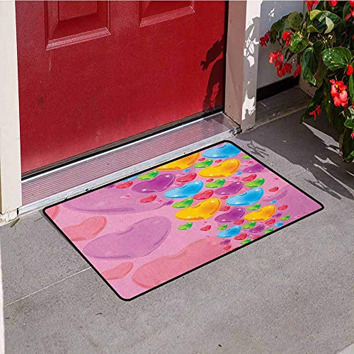 - Princess Inlet Outdoor Door mat Romantic Stylized Art with Colorful Crystal Hearts Creative Fun Celebration Theme Catch dust Snow and mud W31.5 x L47.2 Inch Multicolor