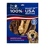 Pet Factory 78254 Made in USA Value Pack Assorted Flavored (Beef & Chicken) 6-7'' Rawhide Chews for Dogs
