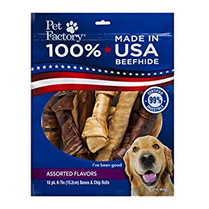 Pet Factory 78254 Made in USA Value Pack Assorted Flavored (Beef & Chicken) 6-7″ Rawhide Chews for Dogs