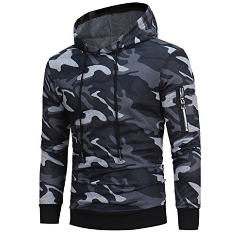 Price comparison product image HOT ! Ninasill Mens Autumn And Winter Long Sleeve Camouflage Hoodie Hooded Sweatshirt Tops Jacket Coat Outwear (L, Gray)