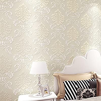 eshion Modern Lines Flocking Non-woven Embossed Textured Wallpaper Roll Wall Sticker for Livingroom Bedroom Kitchen Bathroom
